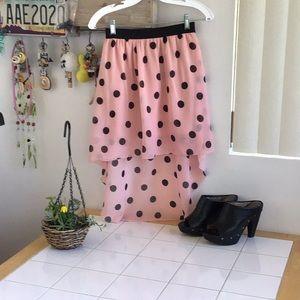 Black-On-Pink Polka Dot Skirt
